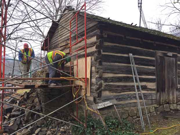 Layman Construction Company and House Movers carefully prepared the historic Ogle Cabin for relocation.