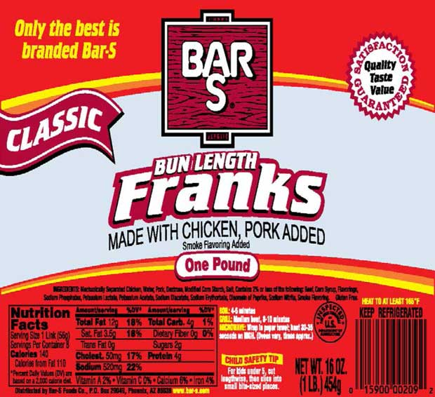 Bar-S Bun Length Franks Recalled