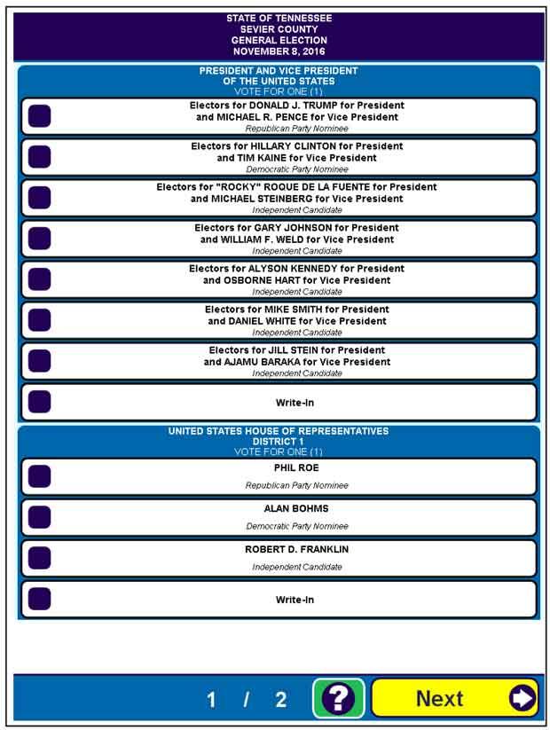 Sevier County Sample Ballot for Nov. 8, 2016 Election