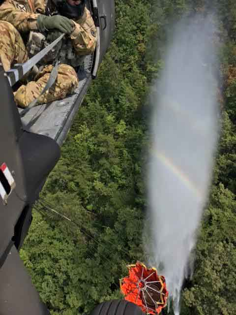 Blackhawk Helicopters Drop Water on English Mountain Fire in Sevierville