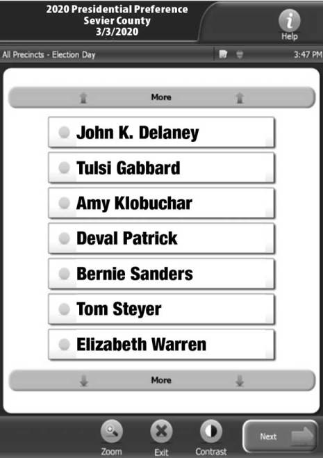 Sevier County Early Voting Open View Sample Ballot