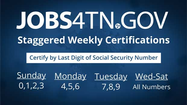 unemployment tennessee certification days staggers ease sunday