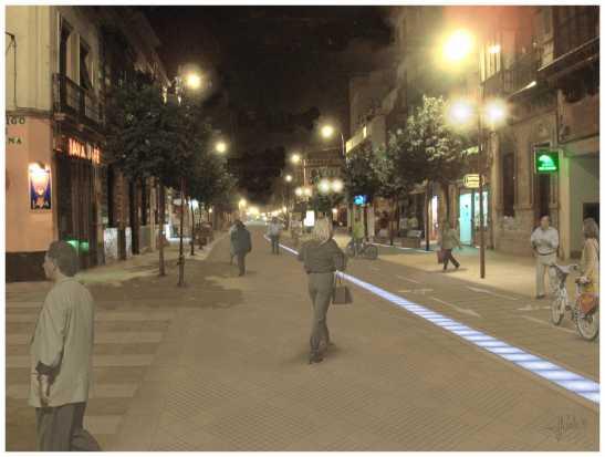 Una iluminación horizontal en el acerado, con reflejos azules, servirá de homenaje al río Guadalquivir