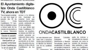 Los propios boletines municipales anuncian en Castilblanco de los Arroyos el traslado de 'Onda Castilblanco TV' al canal 39 de la TDT