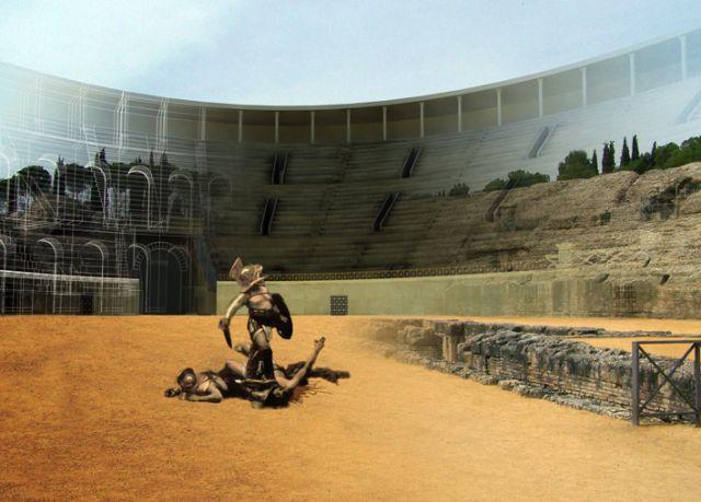 Recreación virtual del diseño original del anfiteatro de Itálica, en Santiponce