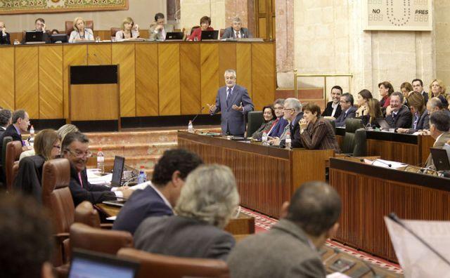 Griñán ayer durante la sesión de control en el Parlamento andaluz
