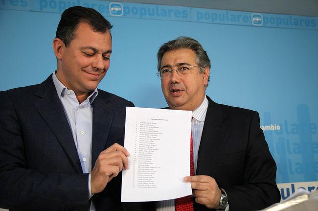José Luis Sanz y Juan Ignacio Zoido esta mañana presentando la lista, esta mañana/PP