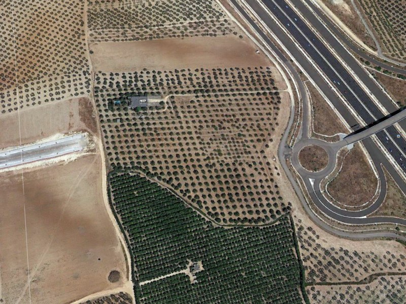 Vista aérea de la conexión entre Espartinas y las carreteras