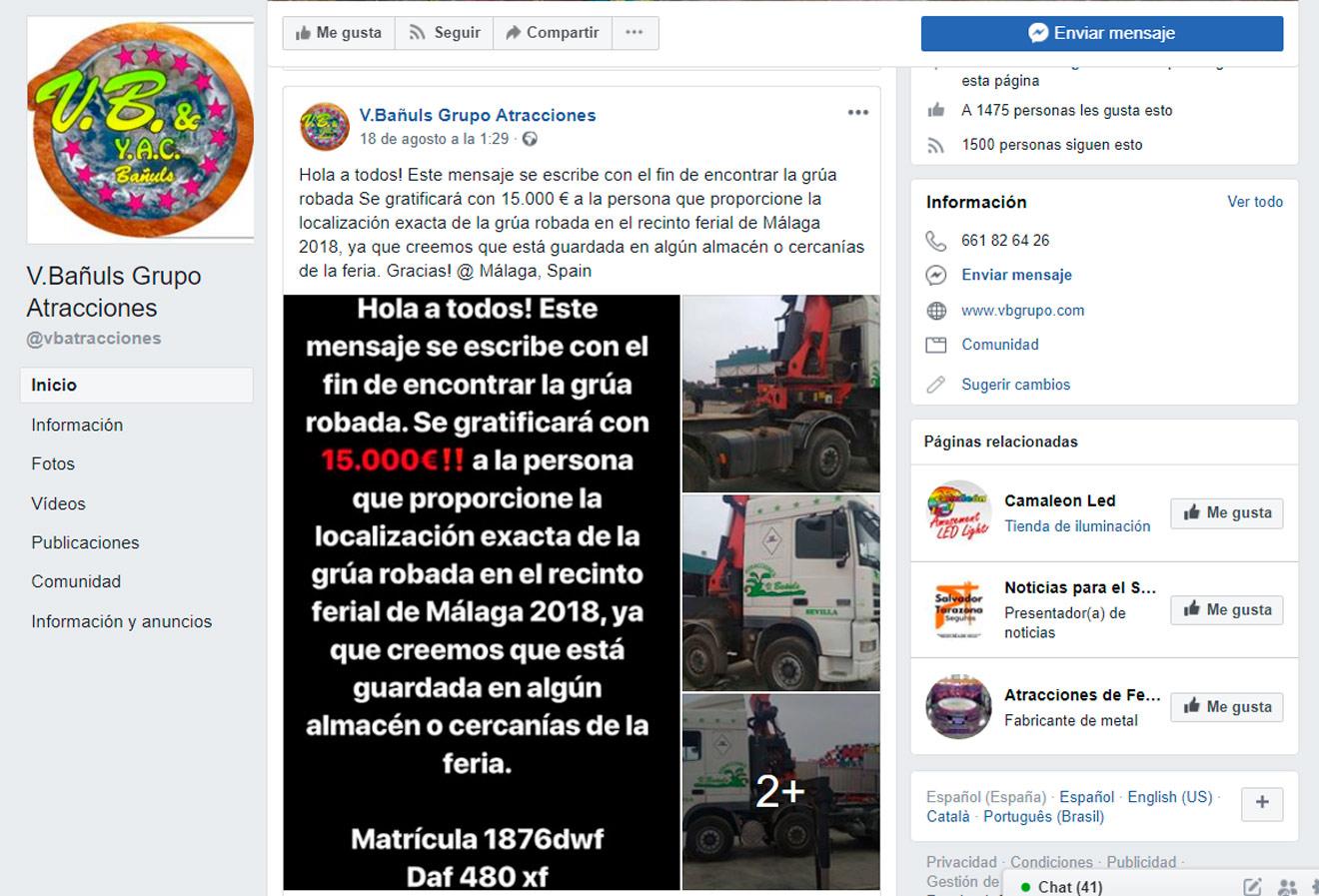 Post en FB sobre el camión robado /SA