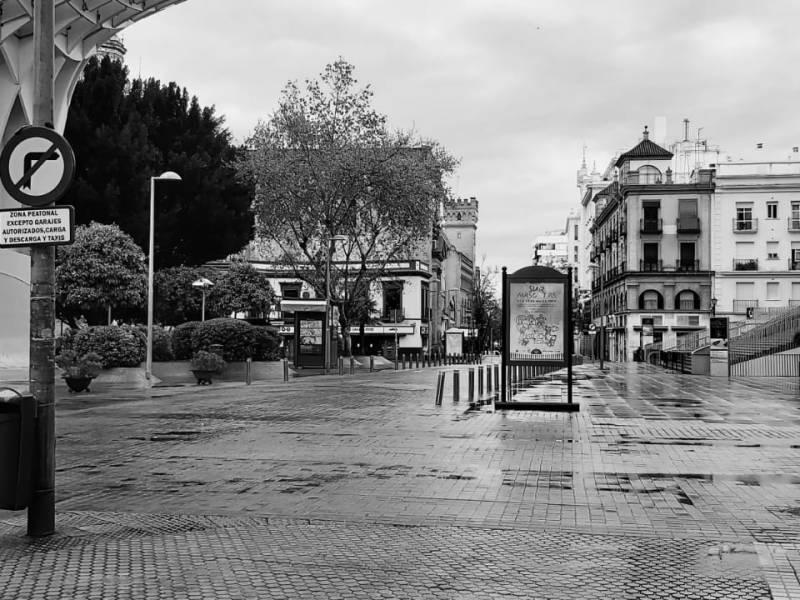 Imagen del centro de Sevilla durante el primer estado de Alarma /Alberto Pérez Mellado