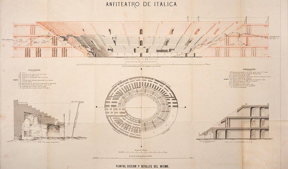 Plano del anfiteatro de Itálica / Junta