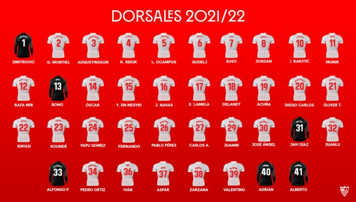 Dorsales 2021/22 del Sevilla FC