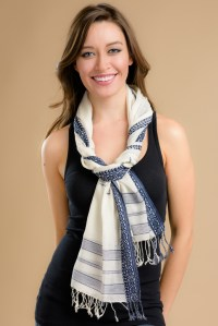 Navy and White Scarf - Sevya Fair Trade Wholesale Scarves