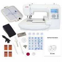 Janome Memory Craft 200E embroidery machine with acessories