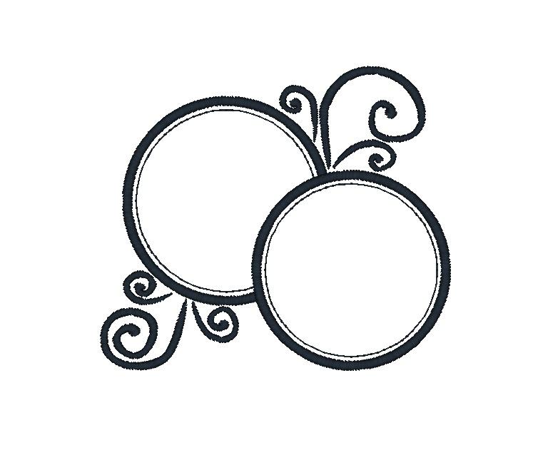 Double Circle Frame Applique Design