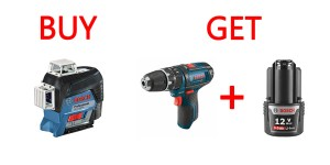 BOSCH SPECIAL – Free 12V Hammer Drill & Battery with Purchase of Plane Laser