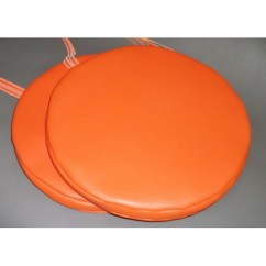 Garden Chair Cushion Covers Uk Hanging Indoor With Stand 2 Bistro Round Dining Stool Seat Pads In Orange Faux Leather 14½