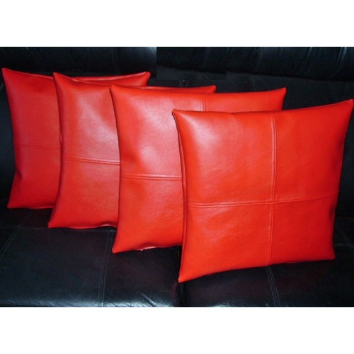 faux leather chair pads wicker back chairs 4 x cushion covers in red check design 18