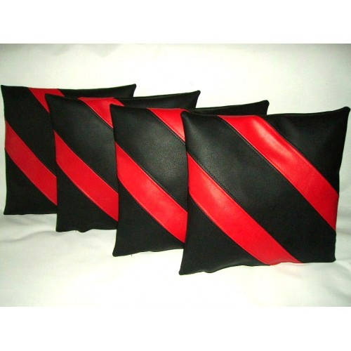 faux leather chair pads steelcase parts 4 x cushion covers black & red 2 diagonal stripes 16