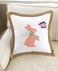 Standing Bunny Applique with Removable Bow Pillow Cover ...