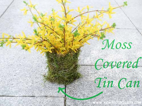 DIY Moss Covered Tin Can by Sew Historically