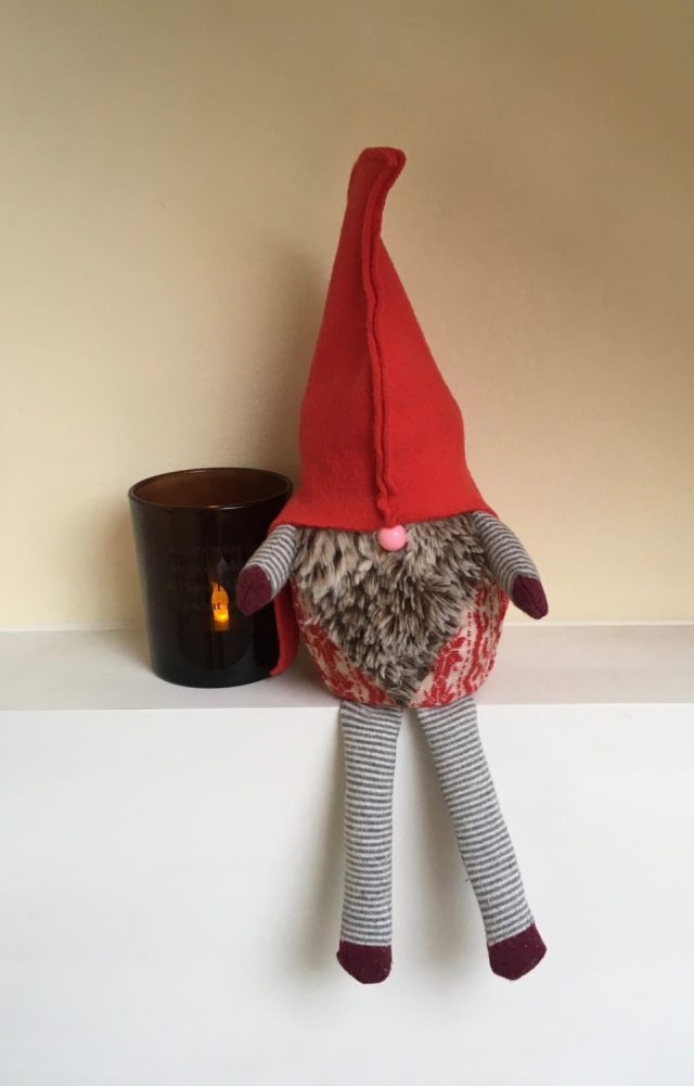 Homemade Christmas gnome using discarded socks