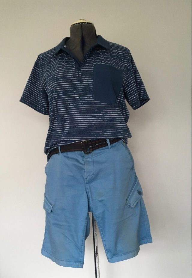 Man Blue fabrics polo with short trousers