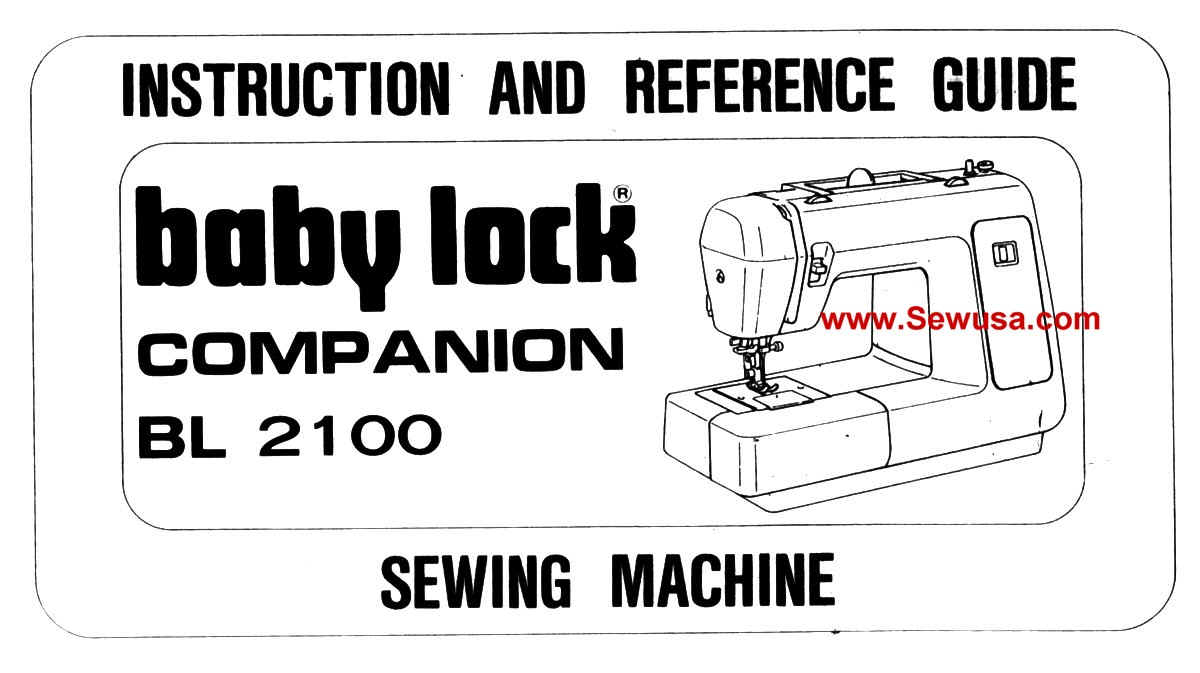 Babylock Model BL 2100 Instruction Manual