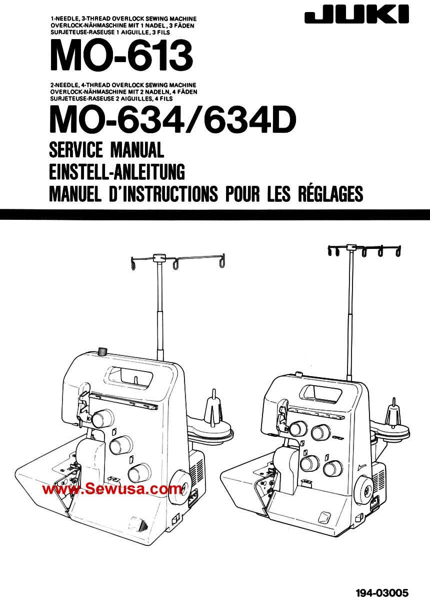 Juki Model MO 613 634-D Sewing Machine Service Manual