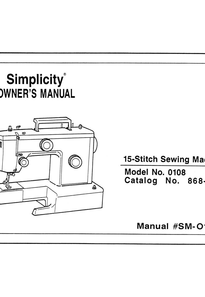 Simplicity 0108 Instruction Manual