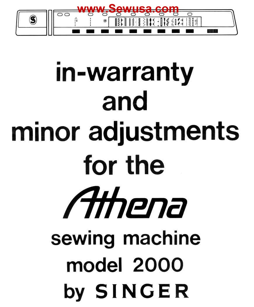 Singer 2000 Athena Adjust Service Manual