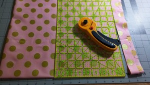 Cut your fabric into a square and then fold into quarters.