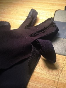 Taking apart an existing glove.