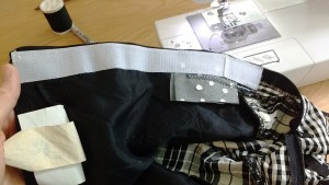 Here you can see the gray gift bag fabric on the underside of the dress.