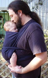A mei-tai style baby carrier is super easy to sew and comfy for both dad & baby.