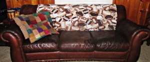 Two layers of Cuddle Plush fabric make an ultra cozy sofa blanket.
