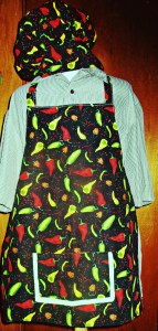 Reversible, adjustable apron & chef hat.