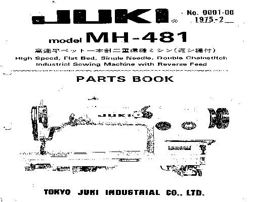 Juki Industrial Sewing Machine Parts Books