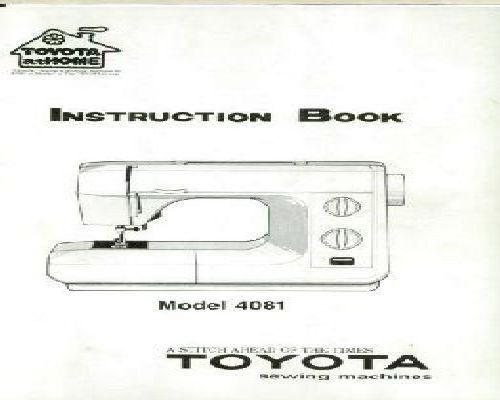 Toyota Sewing Machine Instructions