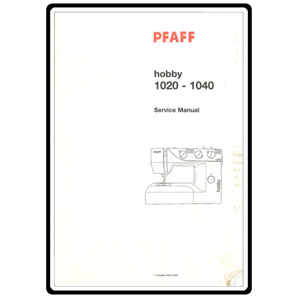 Service Manual, Pfaff 1040 : Sewing Parts Online
