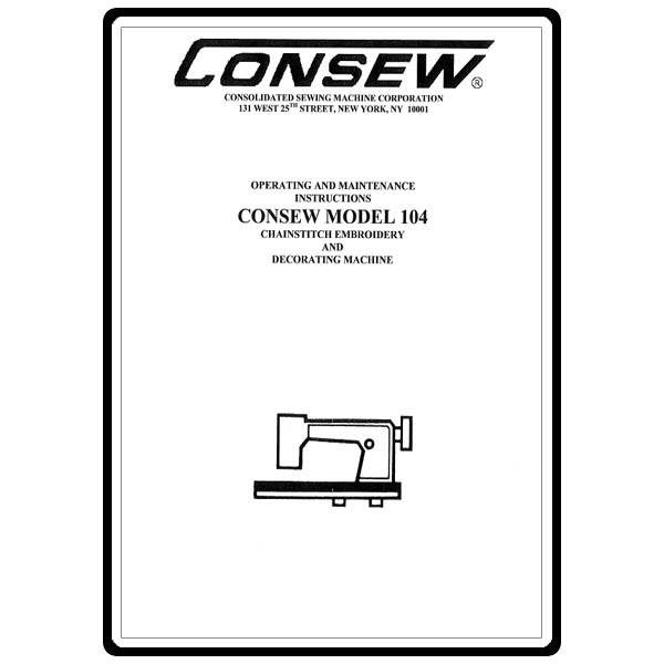Instruction Manual, Consew 104 : Sewing Parts Online