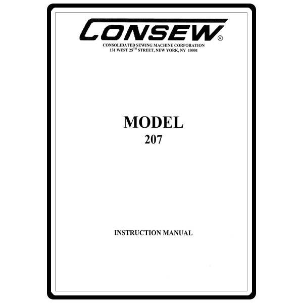 Instruction Manual, Consew 207 : Sewing Parts Online