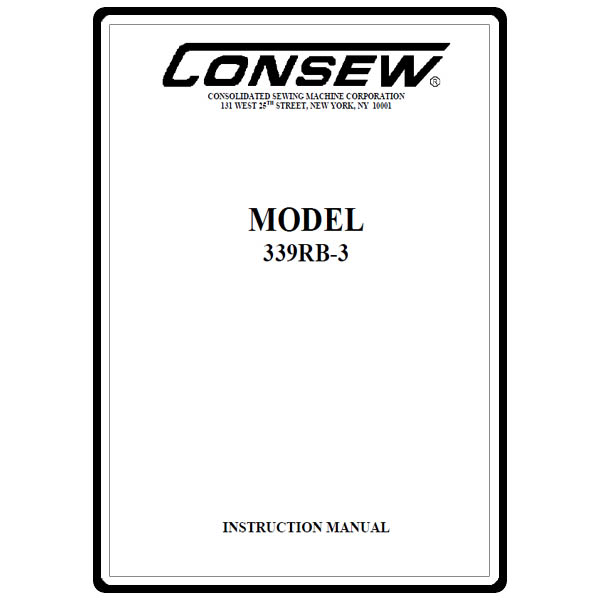 Instruction Manual, Consew 339RB-3 : Sewing Parts Online
