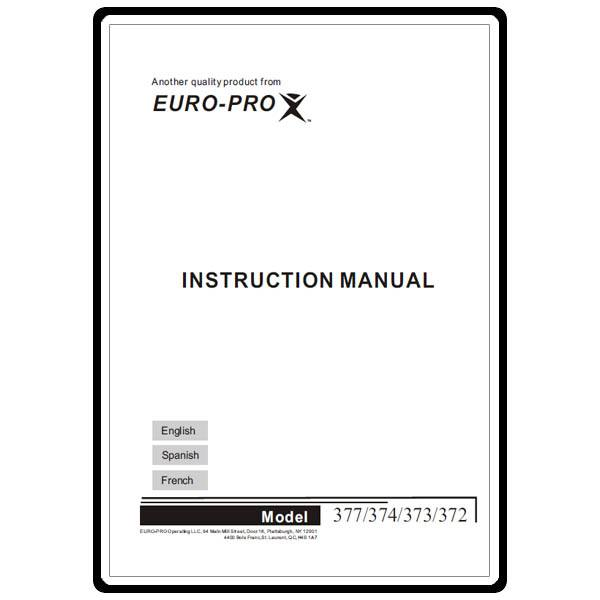 Instruction Manual, Euro Pro 377 : Sewing Parts Online