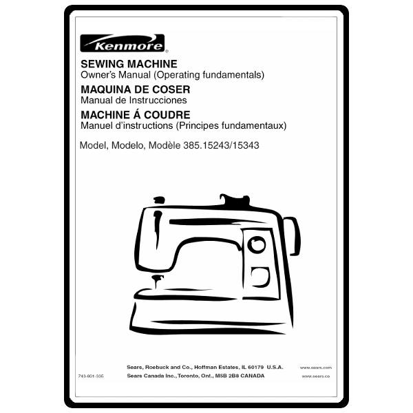 Instruction Manual, Kenmore 385.15343600 : Sewing Parts Online
