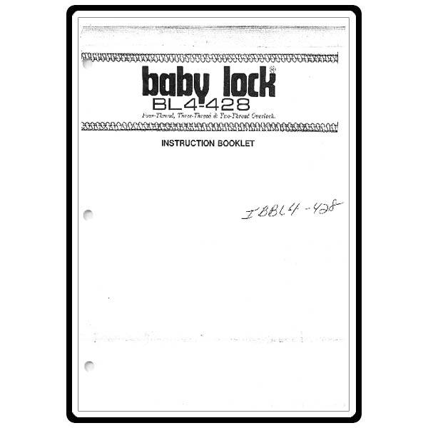 Instruction Manual, Babylock BL4-428 : Sewing Parts Online