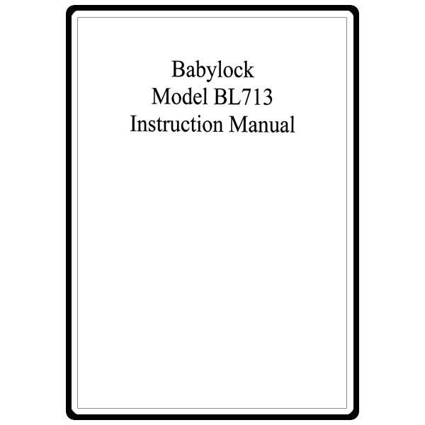 Instruction Manual, Babylock BL713 : Sewing Parts Online