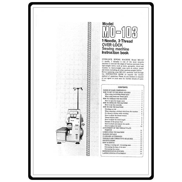 Instruction Manual, Juki MO-103 : Sewing Parts Online