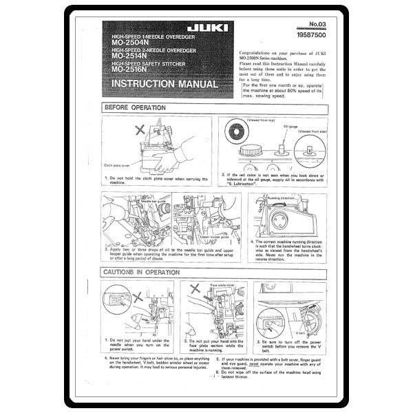 Instruction Manual, Juki MO-2516N : Sewing Parts Online