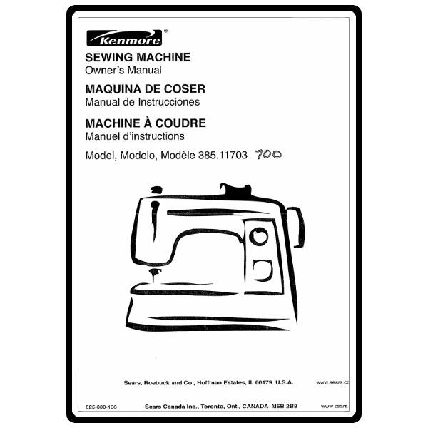Instruction Manual, Kenmore 385.11703700 : Sewing Parts Online